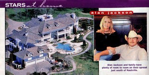 Alan Jackson's 'Sweetbriar' home in Franklin, Tennessee. This clipping is from the May 13, 2003 issue of Country Weekly Magazine.
