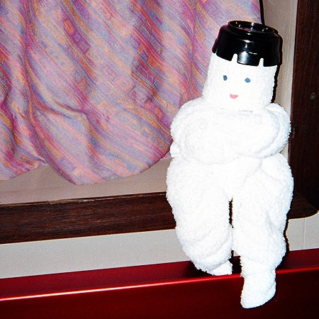 Towel art on a cruise. Photo ©2004 Jim & Lynnette's Fun Times Guide http://thefuntimesguide.com