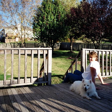 Lynnette and Jersey enjoying the new deck.