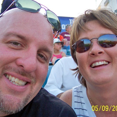 Our self-portrait at the baseball game.