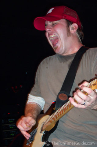 Brett Danaher in the moment as guitarist for Pat Green.