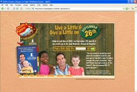 Chili's website announcing their donation of the day's profits to St. Judes Children's Research Hospital.