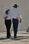 An unidentified couple -- NOT Jim & Lynnette -- walking in downtown Nashville.