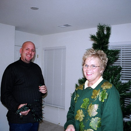 Kay was more than willing to help us decorate our first Christmas tree together.