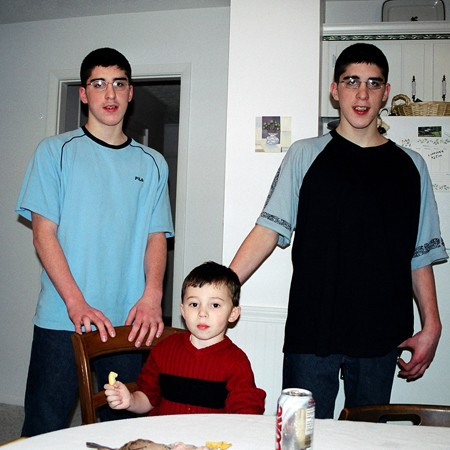 Benjamin, Dylan and James in the kitchen.