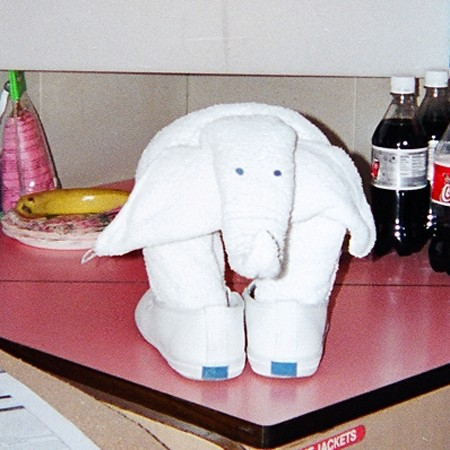 Elephant formed from folded towels. Photo ©2004 Jim & Lynnette's Fun Times Guide http://thefuntimesguide.com