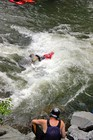 Freestyle kayaker at Hell's Hole on the Lower Ocoee River