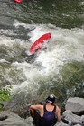 Freestyle kayaker at Hell's Hole on the Lower Ocoee River.