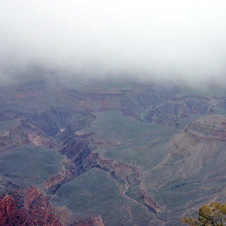 Grand Canyon as viewed on a cloudy, misty morning.
