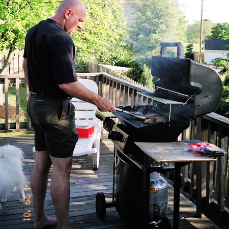 Jim grilling on our new deck.