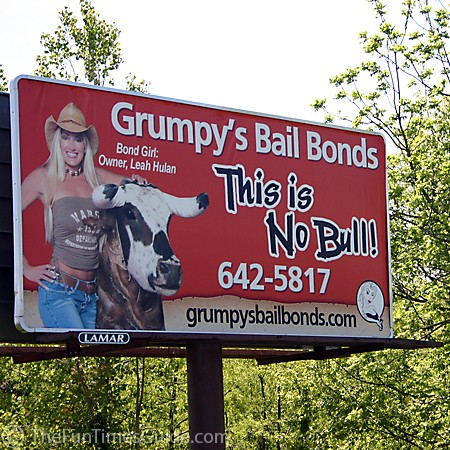Grumpy's Bail Bonds billboard - Franklin, Tennessee.