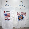 Give Blood, Play Hockey t-shirts they gave away at a Nashville Predators hockey game.