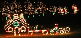 Holiday lights at George Jones's house in Franklin.