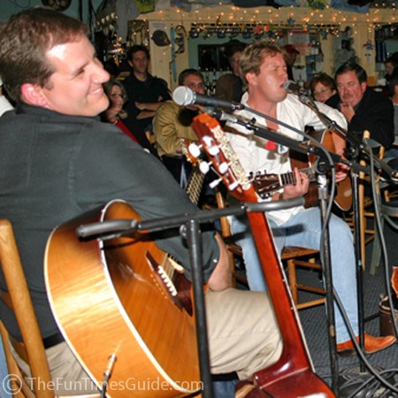 Sean 'Turk' McNamara and Morry Trent in the round at the Bluebird Cafe.