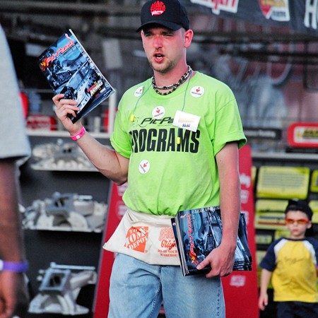 Jerry selling PitPass souvenir programs at the IHRA drag racing events in Rockingham, North Carolina.