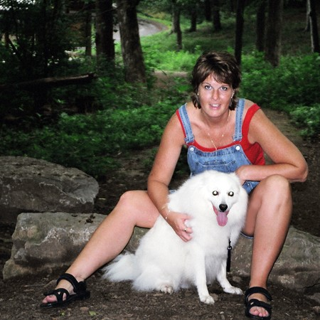 Lynnette and Jersey hiking in Nashville.