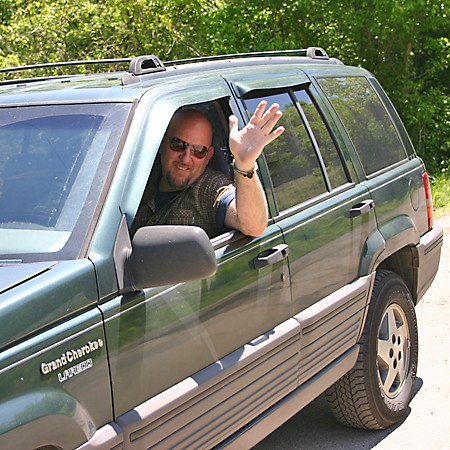 Jim driving our Jeep Grand Cherokee for this day trip.
