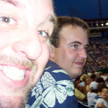 Jim and Mike at the Nashville Sounds baseball game.