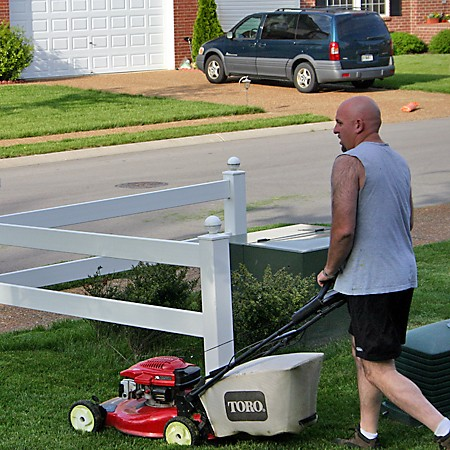 Jim mowing the lawn.
