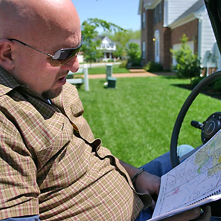 Jim reading the map before we go road-tripping.