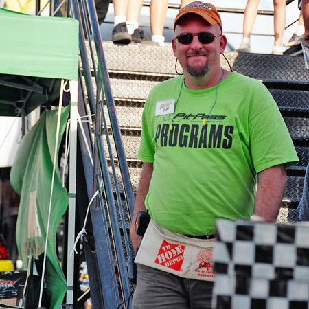 Jim selling PitPass programs at the Rockingham IHRA event.