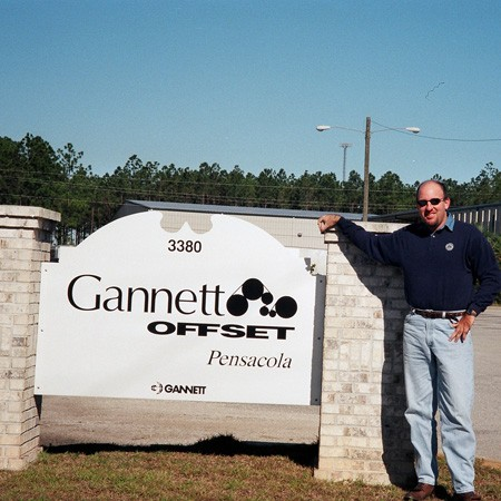 Jim at the offices of Gannett Offset in Pensacola.