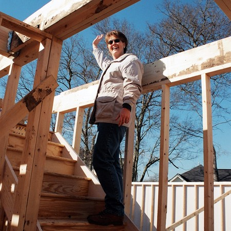 Lynnette checking out the house's framing.