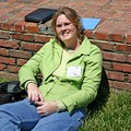 Lynnette soaking in the sun outdoors on the Belmont campus.