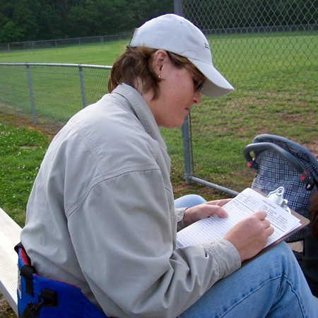 Lynnette usually kept the score at Jim's softball games.