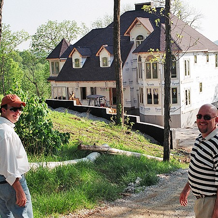 Mike and Jim checking out a house under construction in Center Hill.