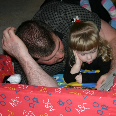 Mike and Karly reading together.