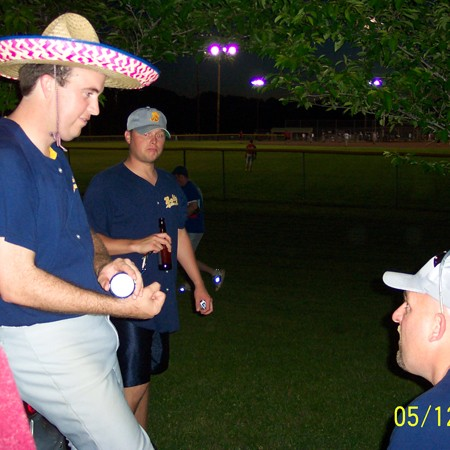 Mike wearing a sombrero at the last game of the season.