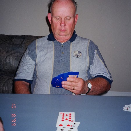 Pops playing Euchre for the first time.