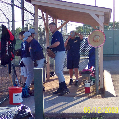 Jim's softball team preparing to start the game.