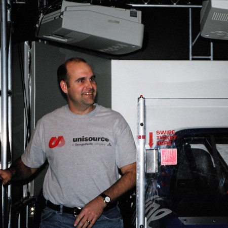 When Jim's friend, Strom, was in town visiting, we went to the NASCAR racing simulator.