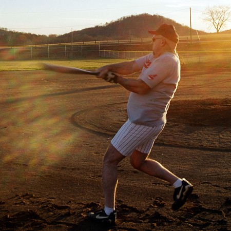 Jim swinging the bat at practice.