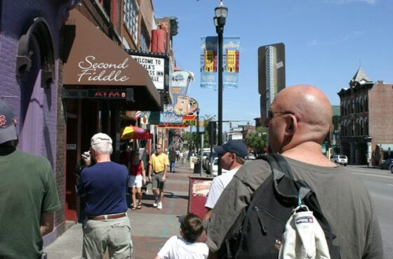 This is my family walking on Broadway in downtown Nashville Tennessee. There's always SO much to see and do there!