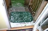 The view out our back door... HAIL!