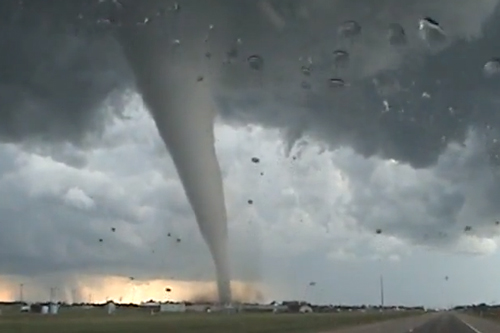 Closeup of a twister tornado.