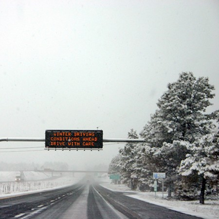 We heeded the sign warning us of winter driving conditions on our way to the Grand Canyon.